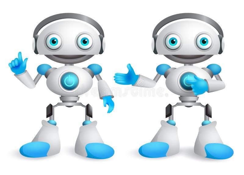 Robots vector character set. Friendly mascot robot design element stock illustration