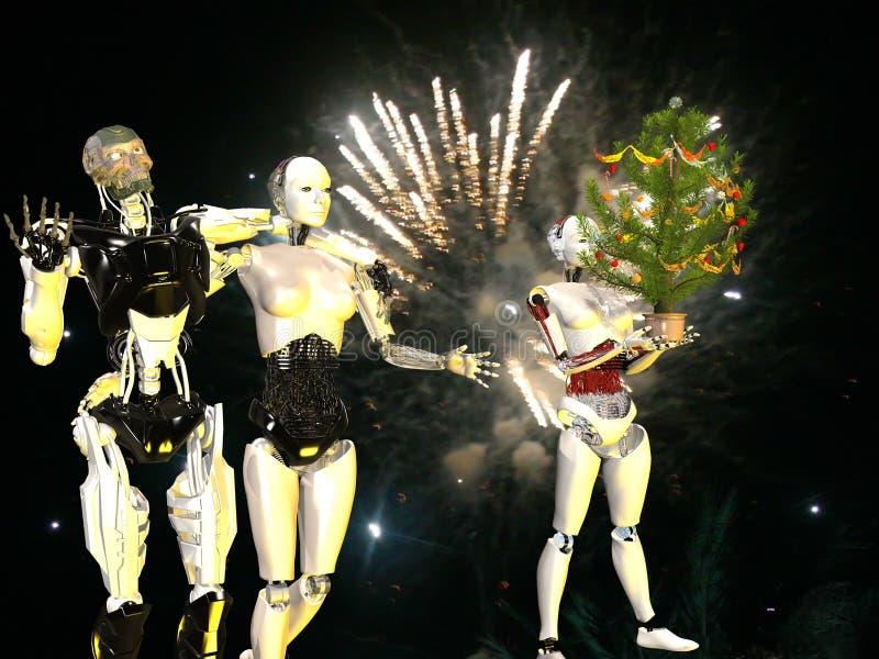 Robots in vooravond van Kerstmis vector illustratie