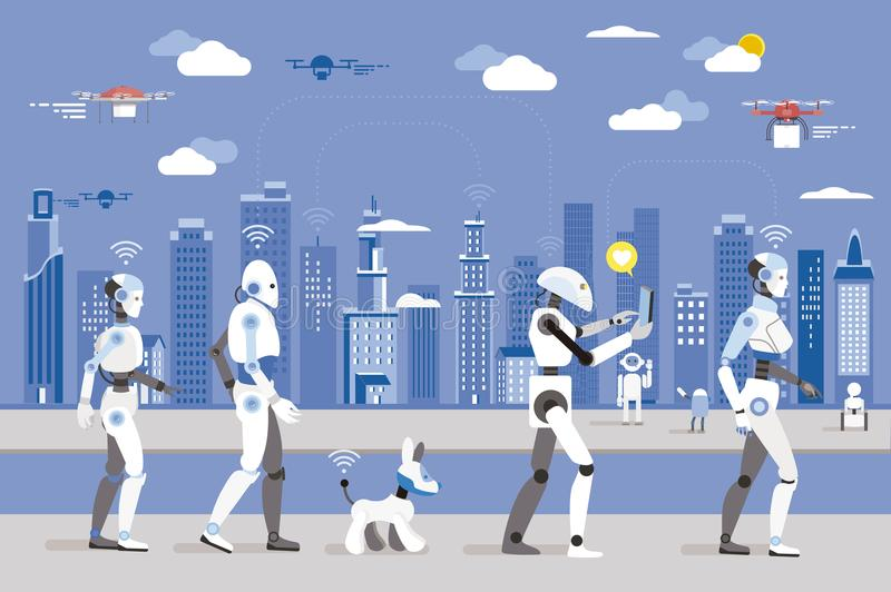 Robots Walking in a Futuristic City. Android robots and a dog robot Walking in a Futuristic City. Futuristic image of a near future. Android robots fly in the vector illustration