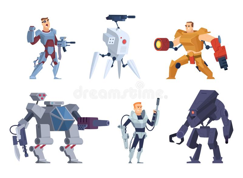 Robots warriors. Characters in exoskeleton brutal future soldiers technology android with guns vector cartoon mascot stock illustration