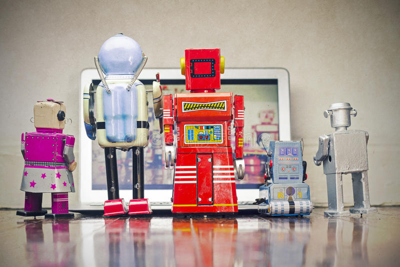 Robots watching royalty free stock photos