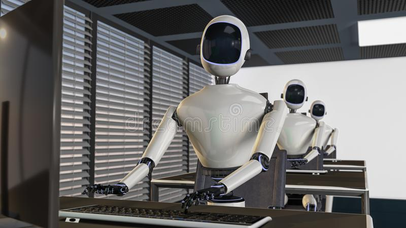 We are the robots, robots working in an office. 3d rendering vector illustration