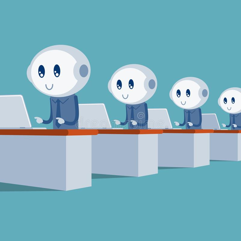 Robots working in the office royalty free illustration
