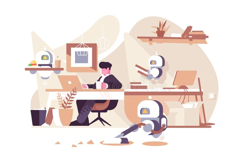 Robots working in office royalty free illustration