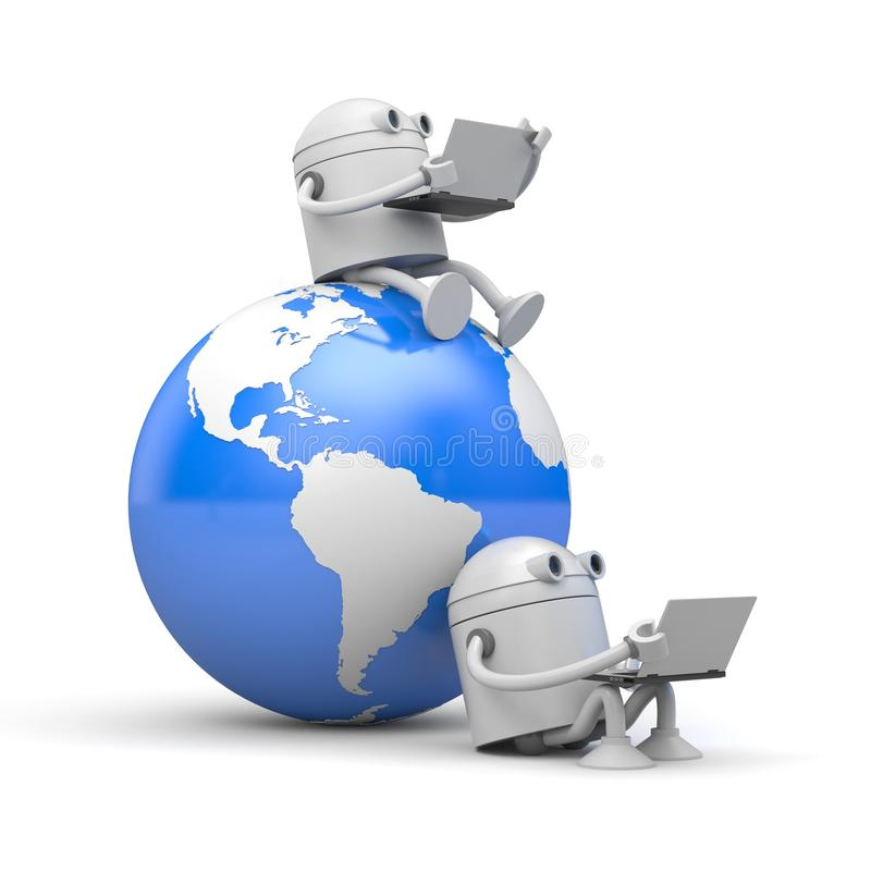 Robots works on laptop sitting on the globe and next to it. 3d illustration royalty free illustration