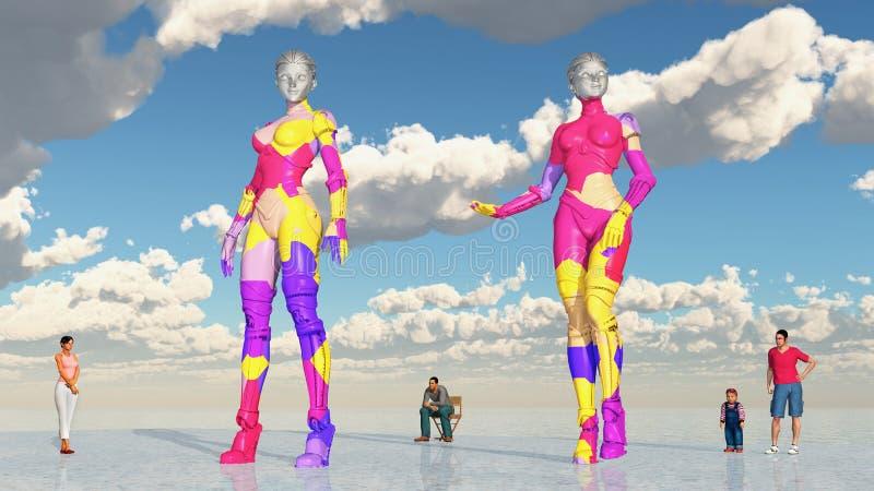 Robots y seres humanos stock de ilustración