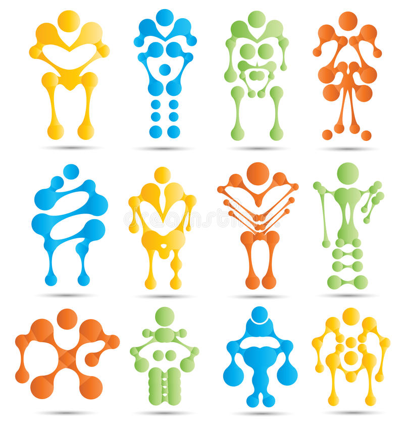 Robots y sistema estilizados del icono de la robótica stock de ilustración