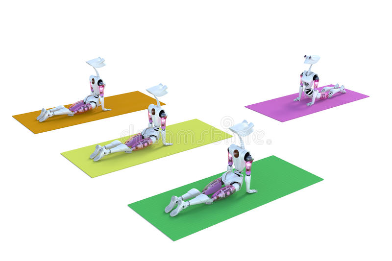 Robots in Yoga Class stock photography