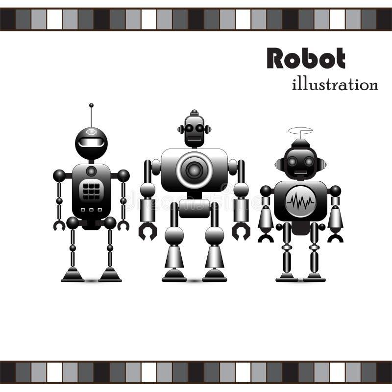 Robotsamling royaltyfri illustrationer