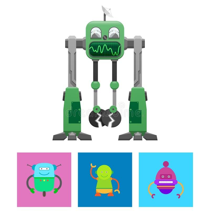 Robotsamling med framsidavektorillustrationen vektor illustrationer