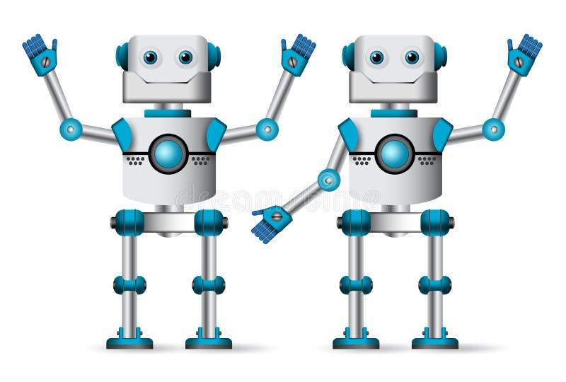 Robotset van tekens Witte cyborgmascotte die zich met het opschorten van handgebaren bevinden stock illustratie
