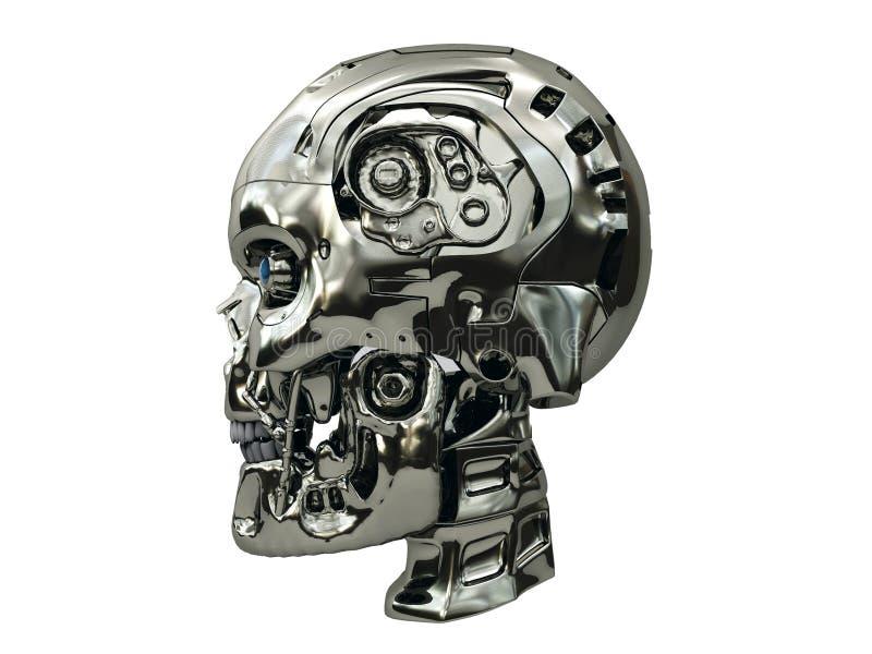 Robotskalle med metalliska glödande ögon för yttersida och för blått på sidosikt arkivfoto