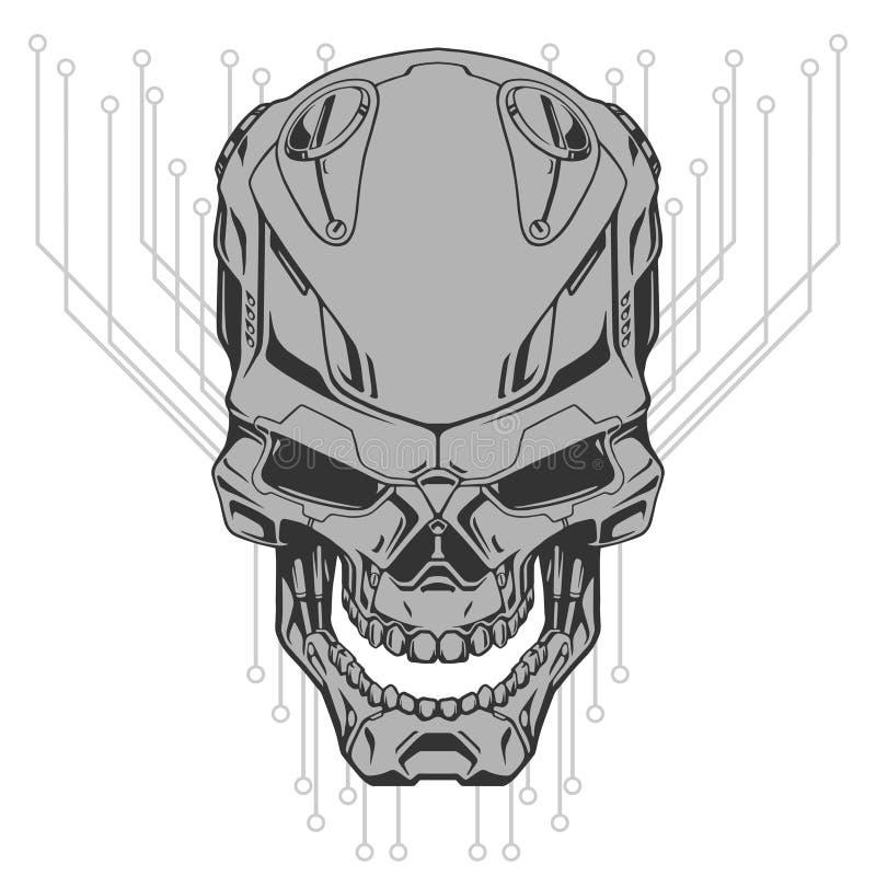 Robotskalleillustration stock illustrationer