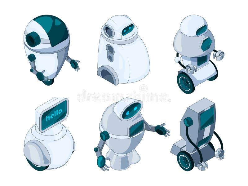 Robotsmedewerker Gekleurde isometrische beelden royalty-vrije illustratie