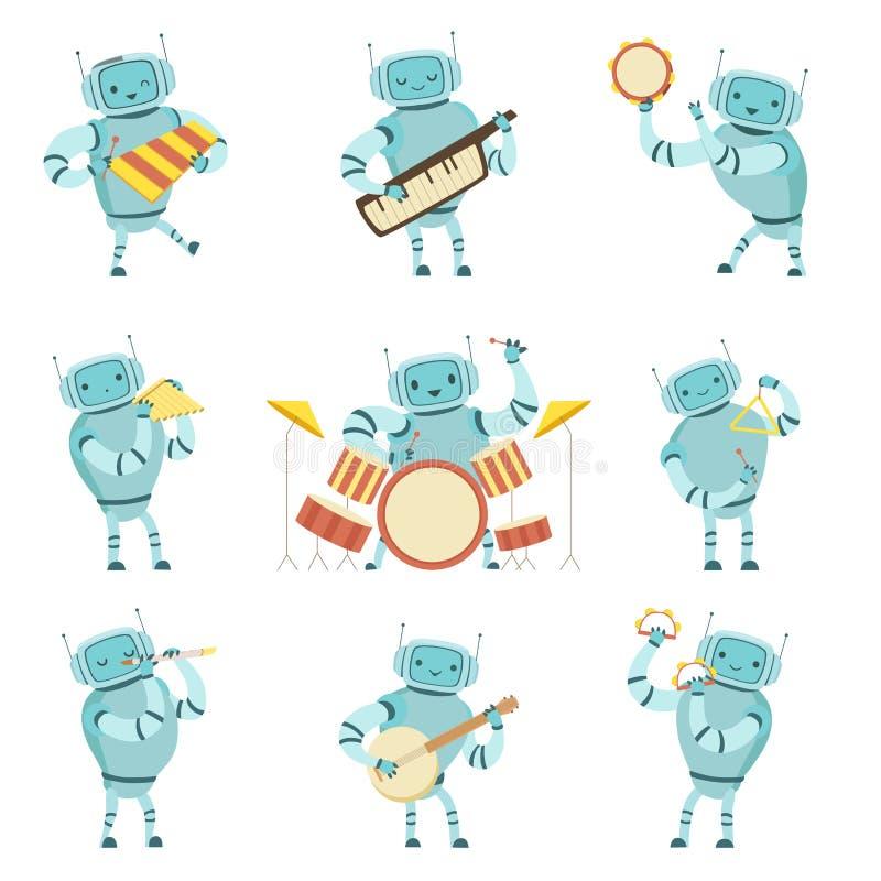Robotsmusici die Muzikale Geplaatste Instrumenten spelen, Robot het Spelen Xylofoon, Harmonika, Tamboerijn, Driehoek, Fluit, Trom stock illustratie