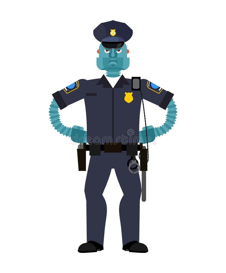 Robotsnut PolisCyborg Framtid för tjänstemanPolice robotic man stock illustrationer