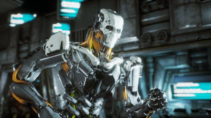 Robotsoldaten kör till och med en futuristisk science fictiontunnel med gnistor och rök, inre sikt framförande 3d royaltyfri illustrationer