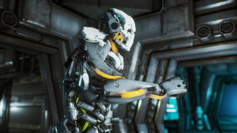 Robotsoldaten kör till och med en futuristisk science fictiontunnel med gnistor och rök, inre sikt framförande 3d vektor illustrationer