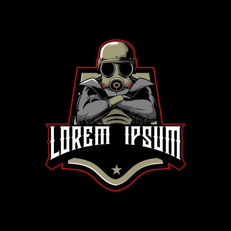 Robotsoldattecknad film med mallen för logo för gasmaskvektoremblem royaltyfri illustrationer