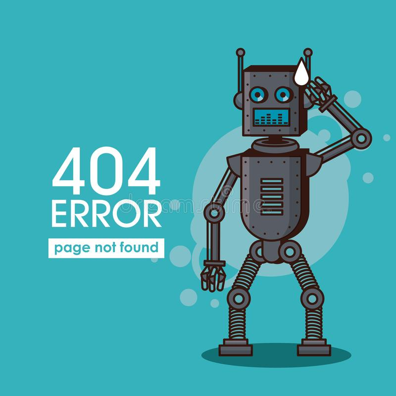 Robotstil för fel 404 stock illustrationer