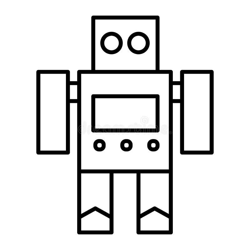 Robotstuk speelgoed dun lijnpictogram Cyborg vectorillustratie die op wit wordt geïsoleerd Stuk speelgoed het ontwerp van de over vector illustratie