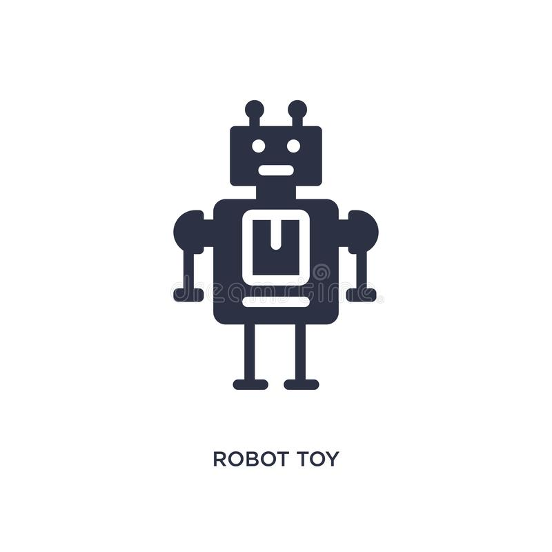 robotstuk speelgoed pictogram op witte achtergrond Eenvoudige elementenillustratie van speelgoedconcept stock illustratie