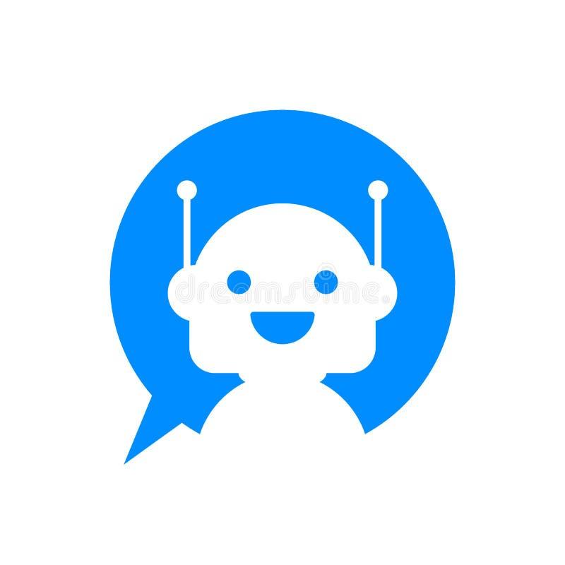 Robotsymbol Botteckendesign Chatbot symbolbegrepp Stämmasupporttjänstbot Online-servicebot också vektor för coreldrawillustration royaltyfri illustrationer