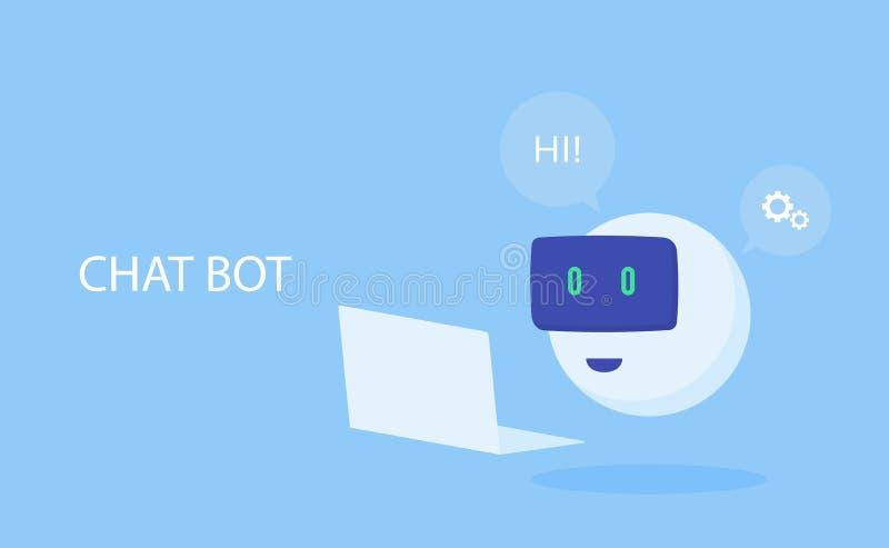 Robotsymbol PratstundBottecken för supporttjänst Modern plan stilvektorillustration royaltyfri illustrationer