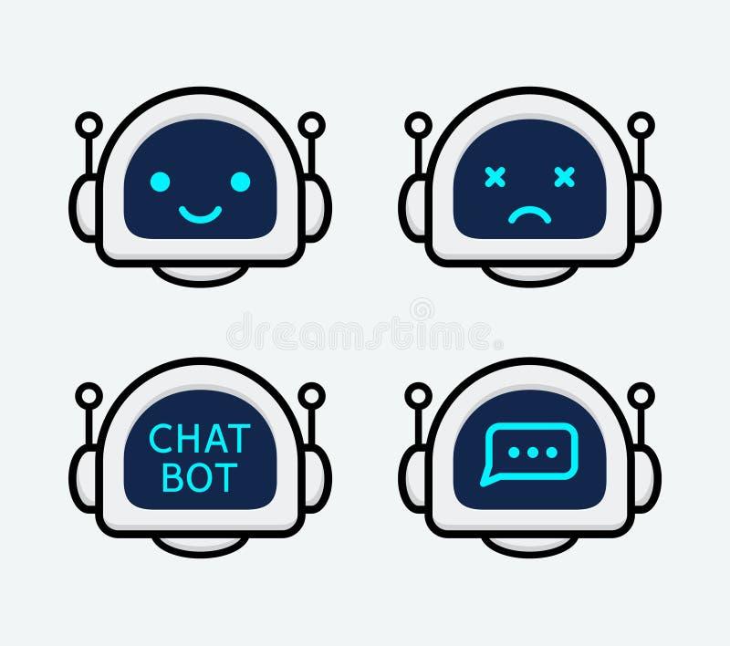 Robotsymbol PratstundBottecken för supporttjänstbegrepp Stil för Chatbot teckenlägenhet vektor illustrationer