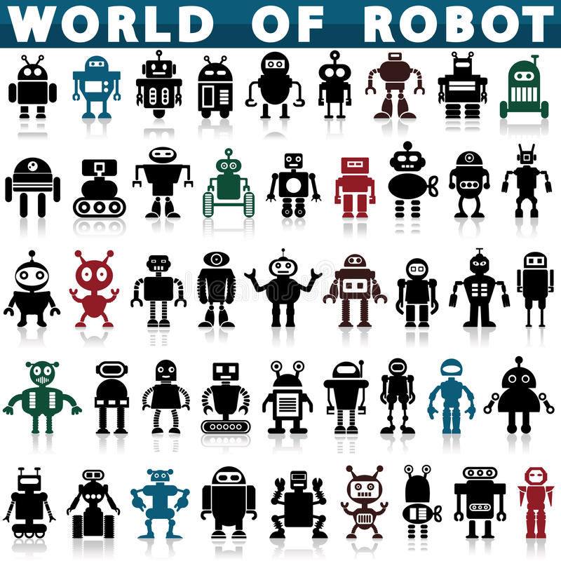 Robotsymboler stock illustrationer