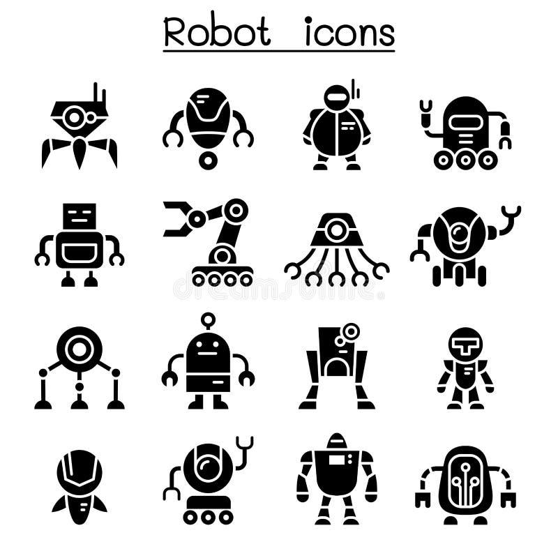 Robotsymbolsuppsättning royaltyfri illustrationer