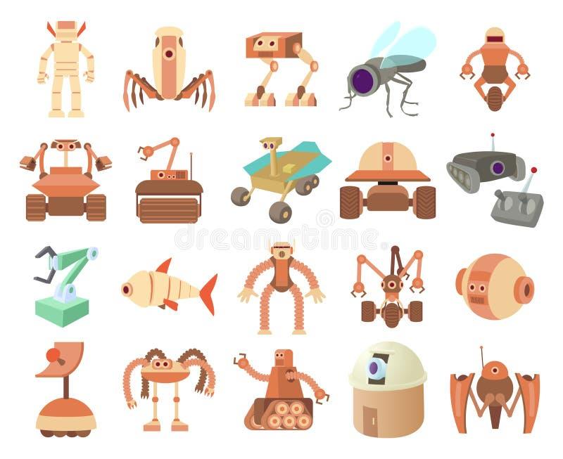 Robotsymbolsuppsättning, tecknad filmstil stock illustrationer