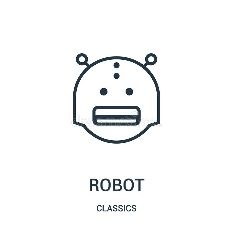 robotsymbolsvektor från klassikersamling r Linj?rt symbol royaltyfri illustrationer