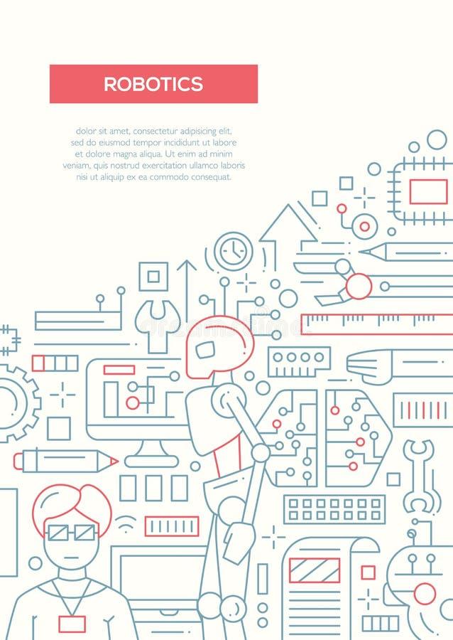 Robotteknik - linje mall A4 för designbroschyraffisch stock illustrationer