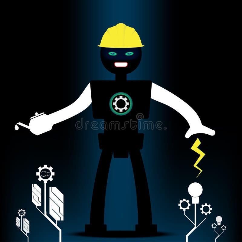 Robotteknik och maskineriträdform Begreppsenergi och teknologi royaltyfri illustrationer