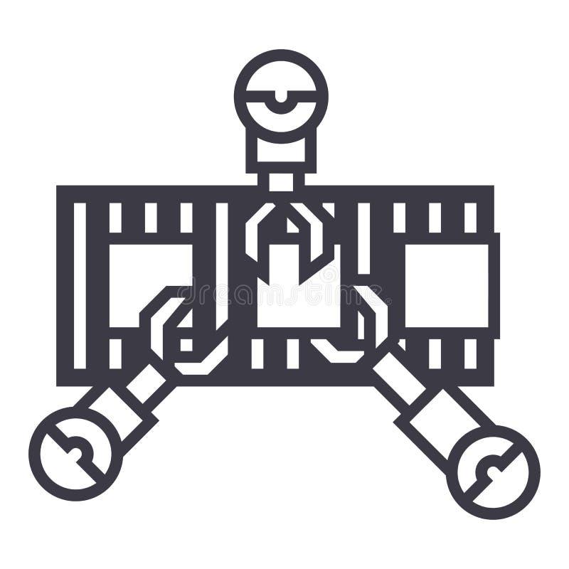 Robotteknikbranschlinje vektorlinje symbol, tecken, illustration på bakgrund, redigerbara slaglängder vektor illustrationer