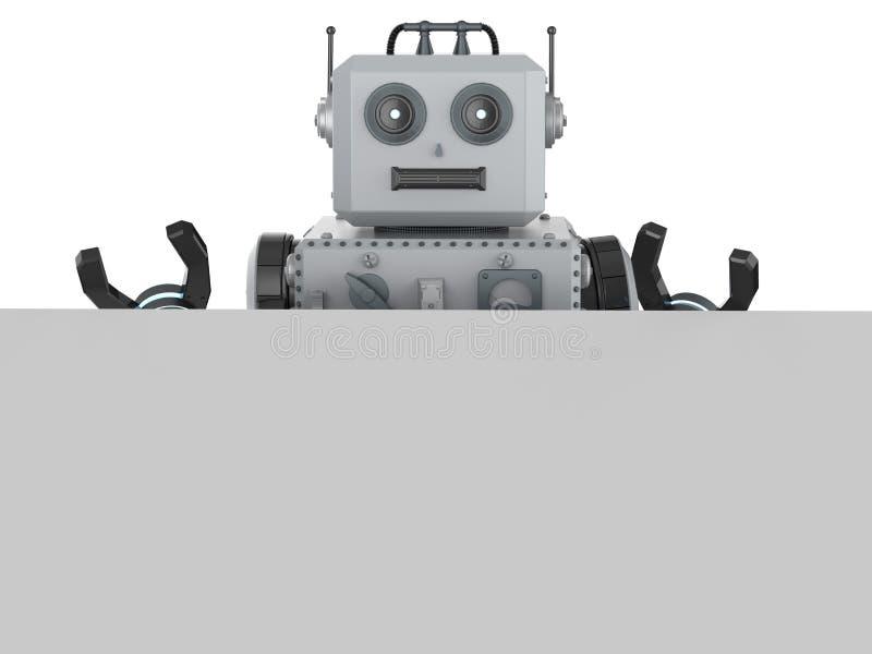 Robottenn leker med vitt tomt papper stock illustrationer