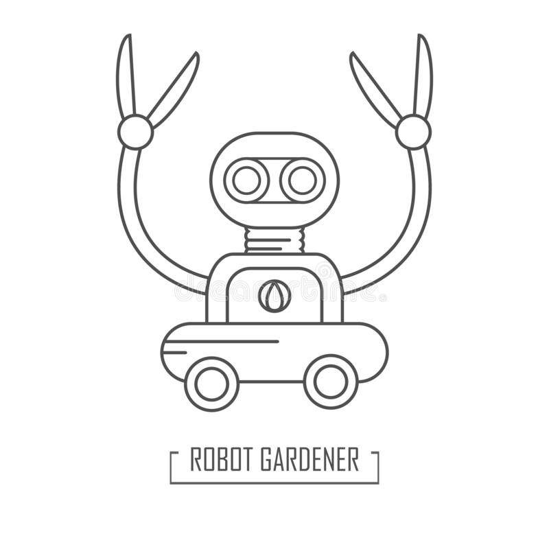 Robotträdgårdrengöringsmedel Vektorillustration i outinestil royaltyfri illustrationer
