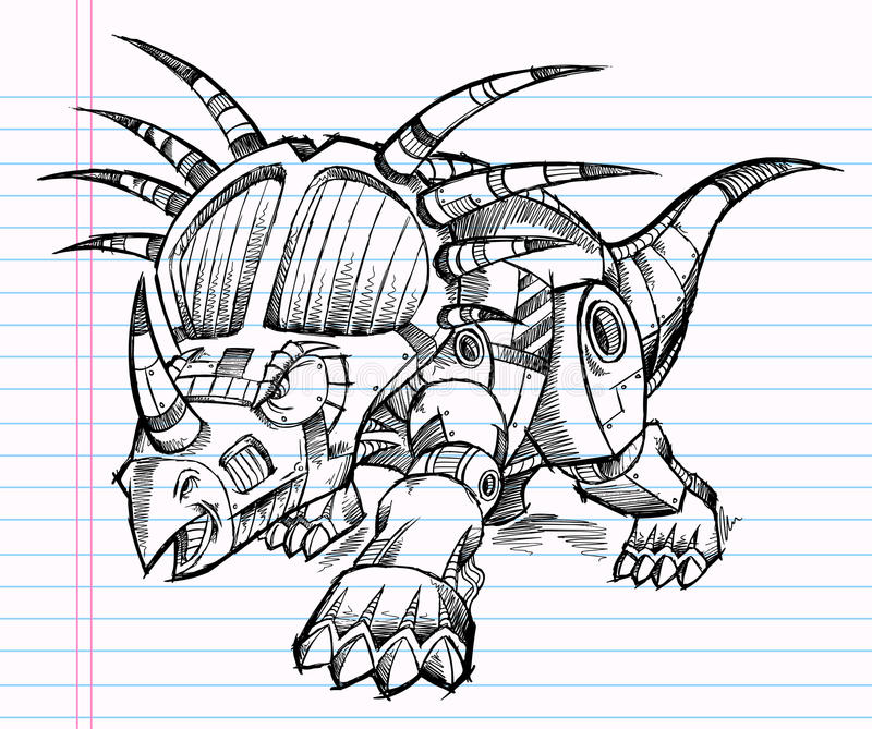 RobotTriceratopsdinosaurien skissar vektor illustrationer