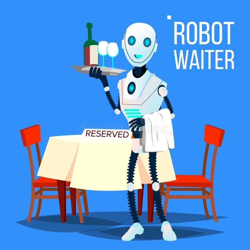 Robotuppassare Holding Tray With Drinks Vector isolerad knapphandillustration skjuta s-startkvinnan royaltyfri illustrationer