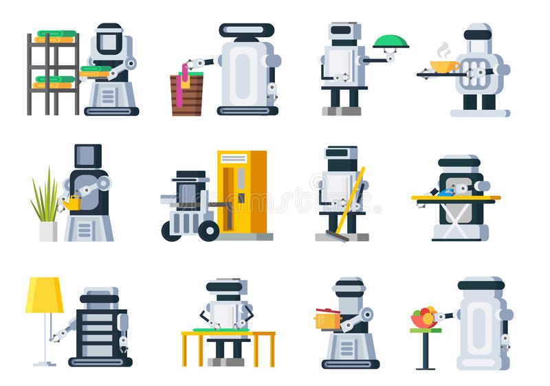 Robotuppsättning för konstgjord intelligens royaltyfri illustrationer
