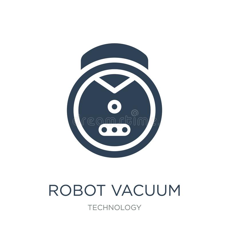 robotvakuumsymbol i moderiktig designstil robotvakuumsymbol som isoleras på vit bakgrund enkel symbol för robotvakuumvektor och royaltyfri illustrationer