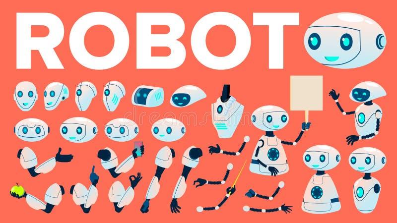 Robotvektor Animeringuppsättning Futuristisk hjälpreda för teknologiautomationrobot Cybernetic Ai-maskin Livligt konstgjort vektor illustrationer