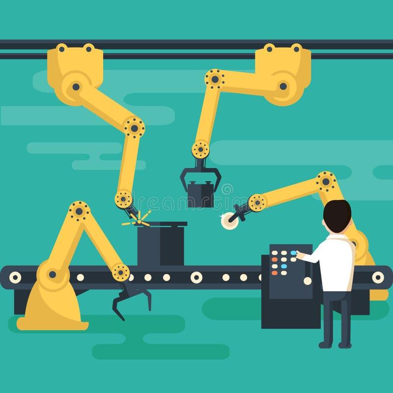 Robotverrichting van de transportband royalty-vrije illustratie