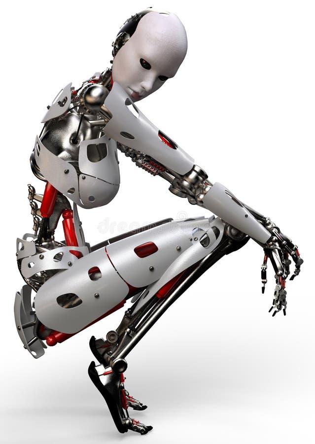 Robotvrouw het denken vector illustratie