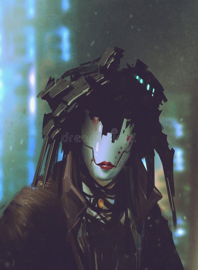 Robotvrouw met kunstmatig gezicht stock illustratie