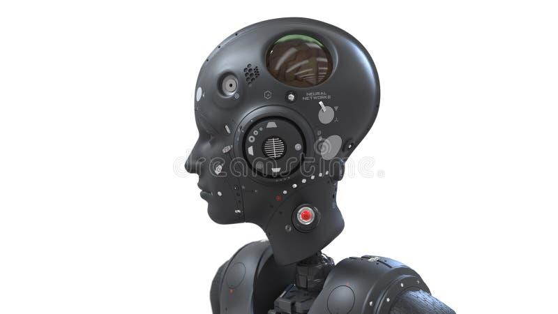 Robotvrouw, sc.i-FI vrouwen digitale wereld van de toekomst van neurale netwerken en kunstmatig vector illustratie