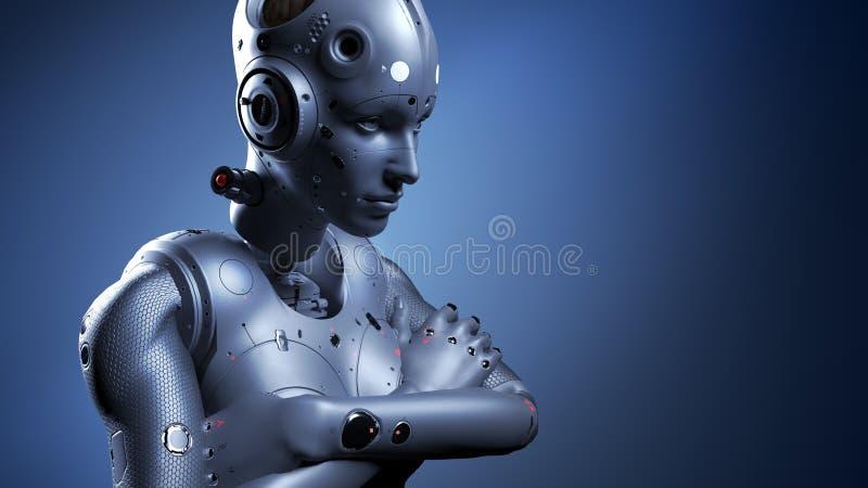 Robotvrouw, sc.i-FI vrouwenkunstmatige intelligentie vector illustratie