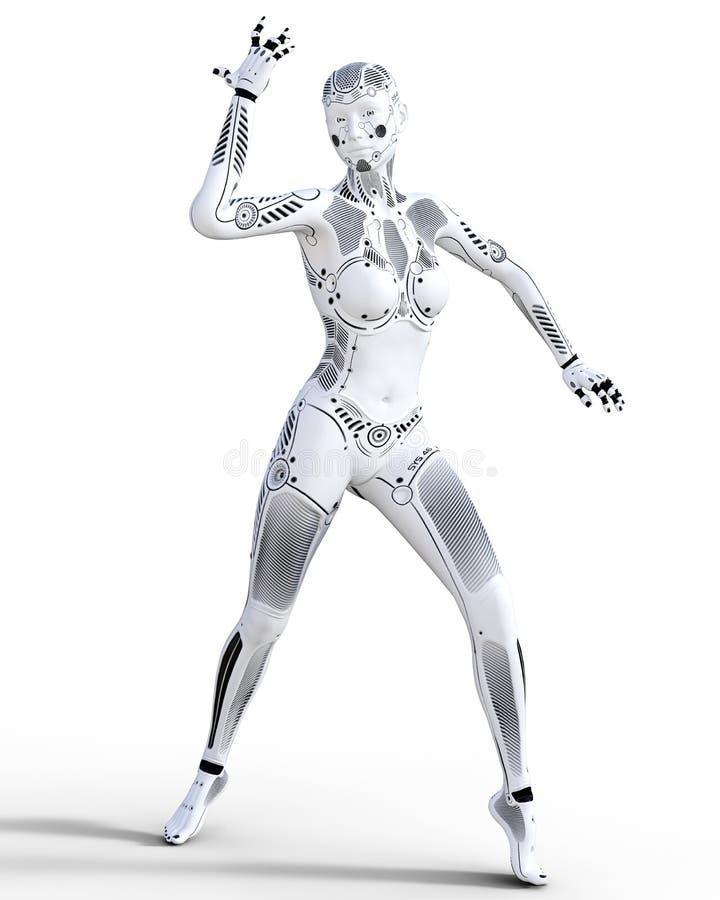 Robotvrouw Witmetaaldroid Kunstmatige intelligentie stock illustratie
