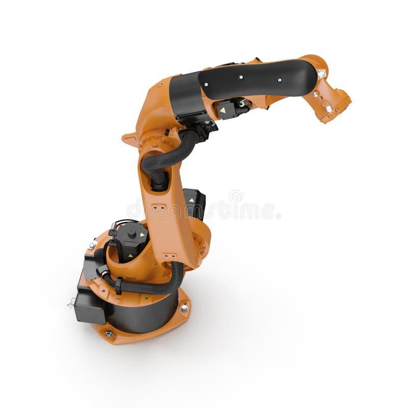 Robotwapen voor de industrie op wit wordt geïsoleerd dat 3D illustratie, het knippen weg vector illustratie